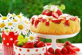 Aardbei taart op tafel in de tuin — Stockfoto