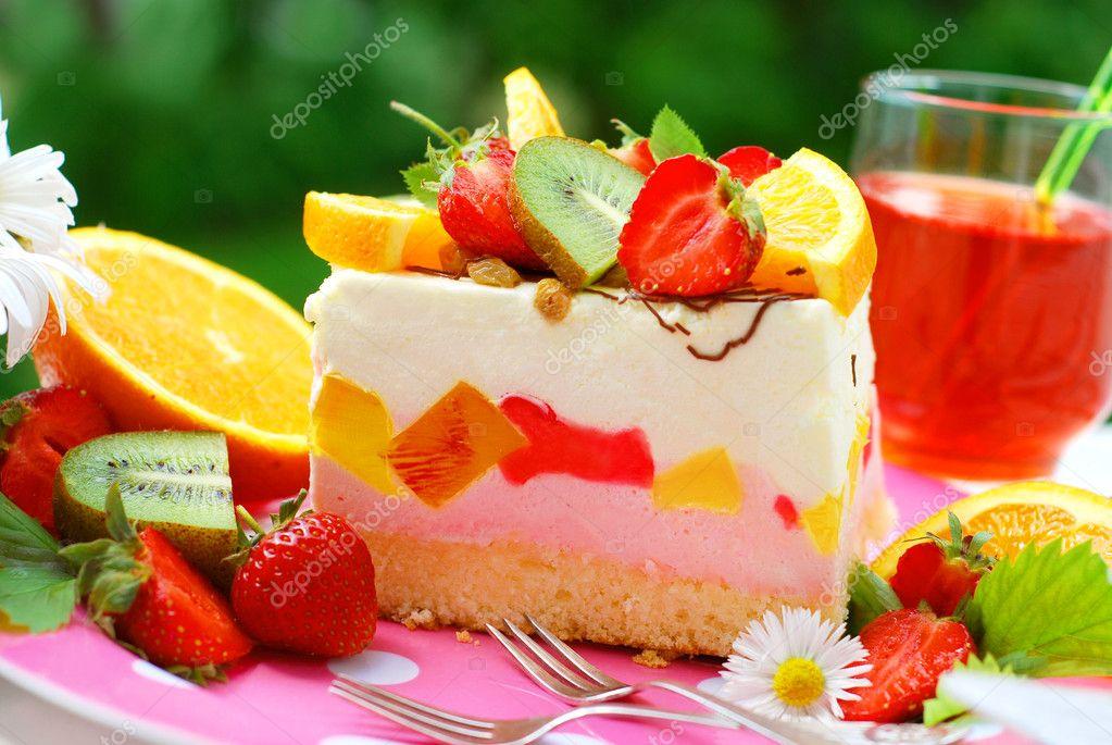 Фруктовый торт с зефиром фото