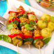 Chicken and vegetables skewers — Stock Photo