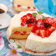 Strawberry and whipped cream torte — Stock Photo