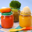 Baby food in jars — Stock Photo #3487327