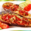 Grilled aubergine stuffed with meat and vegetables — Stock Photo