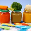 Baby food in jars - Stock Photo