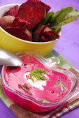 Fresh beets with leaves and soup — Stock Photo