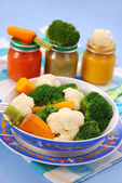 Steamed vegetables for baby — Stockfoto