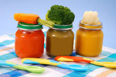 Baby food in jars — Stock fotografie
