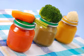 Baby food in jars — Stock Photo