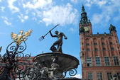 Fountain of the Neptune in Gdansk ( Poland ) — Foto de Stock