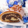 Poppy cake with nuts for christmas — Stock Photo