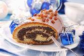 Poppy cake met noten voor Kerstmis — Stockfoto