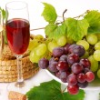 White and red grapes and wine - Stock Photo