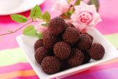 Chocolate rum balls — Stock Photo
