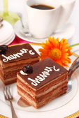 Cherry and chocolate cake — Stock Photo
