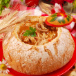 Stock Photo: Polish tripe soup (flaki) in bread bowl