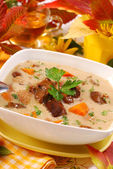 Autumn mushroom soup with cream — Stock Photo