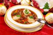 Clear mushroom soup for christmas — Stock Photo