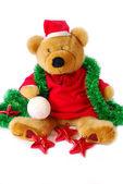 Teddy bear in santa hat — Stock Photo