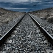 Railway high contrast lines to infinite - Stock Photo
