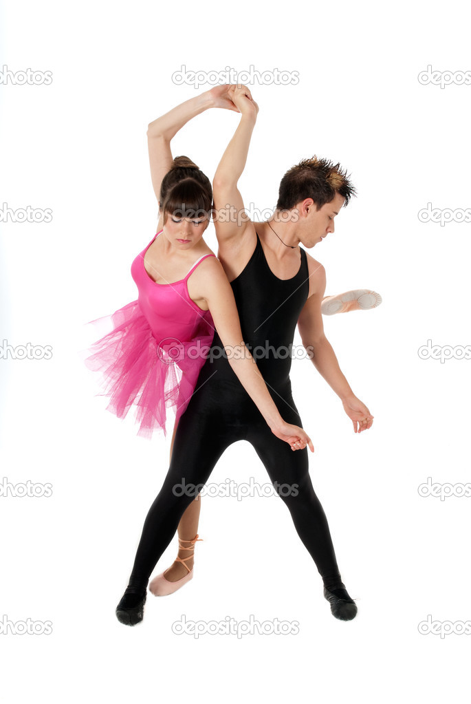 Young couple dancing ballet isolated on white background, full lenght portrait. — Stock Photo #3205095