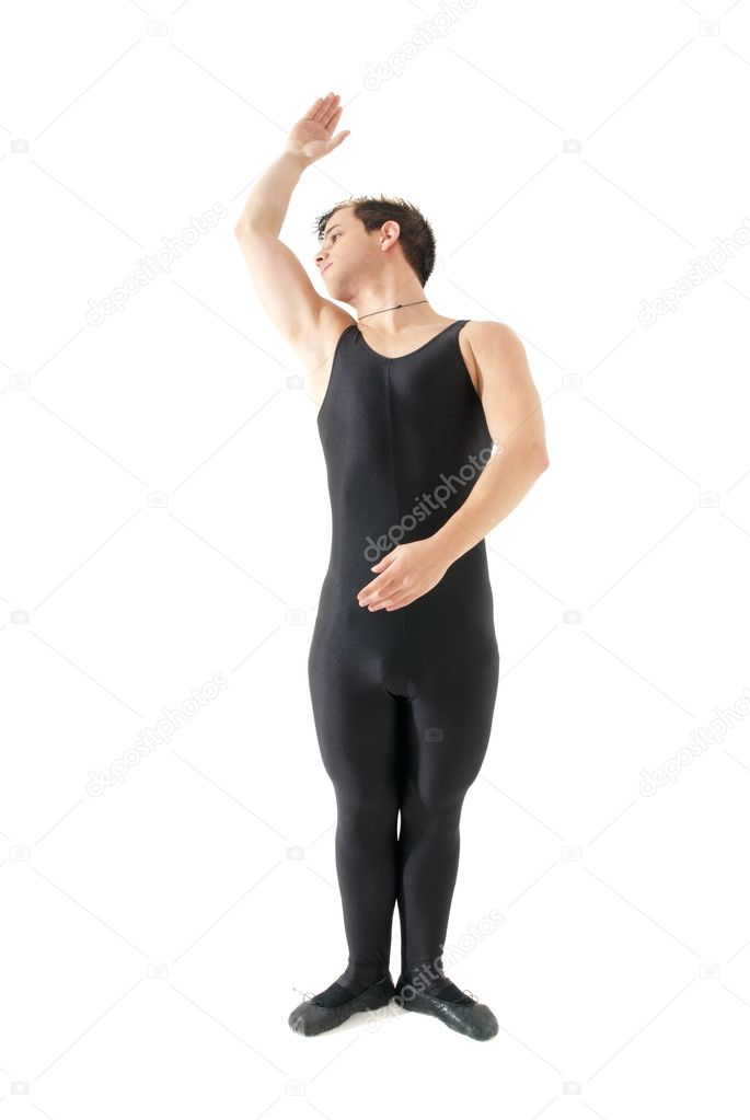 Young man dancing ballet isolated on white background, full lenght portrait. — Stock Photo #3205100