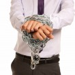 Businessman hands fettered with chain and padlock, job slave symbol, isolat — Stock Photo