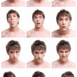 Young man face expressions composite isolated on white background - Stockfoto
