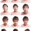 Young man face expressions composite isolated on white background -  