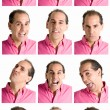 Adult man face expressions composite isolated on white background — Stock Photo #3526372