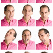 Adult mface expressions composite isolated on white background — Stock Photo #3526372
