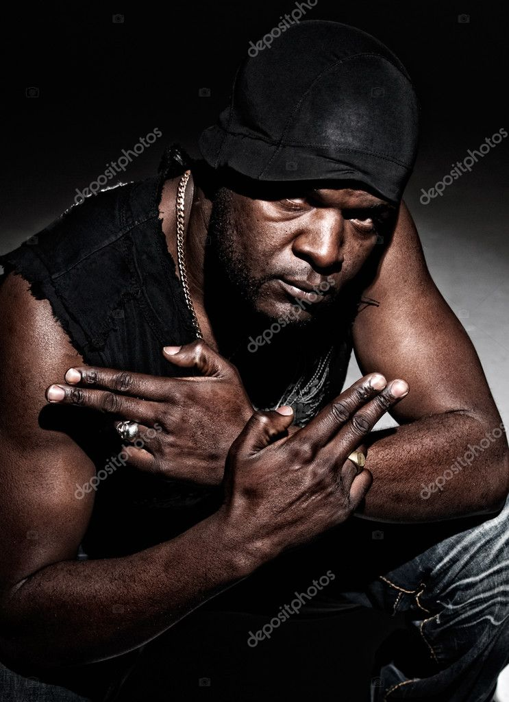 Black gangster men ready to fight high contrast low key.  — Stock Photo #3526423
