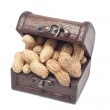 Peanuts in treasure chest — Stock Photo