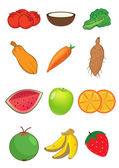 Fruits and Vegetables in vector — Stock Vector