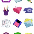 Stock Vector: Office equipment and stationery in vecto