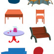 Furniture Equipment Illustration in Vect — Image vectorielle