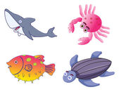Assorted Cute Sea Creatures in Vector — Stock Vector
