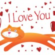 Cat I Love You Illustration in Vector — Stock Vector