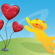 图库矢量图片: Cat and Three Love Ballon Illustration in Vector