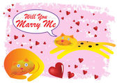 Cat Will You Marry Me Illustration in Vector — Stock Vector
