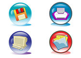 Office Equipment and Computer Button Illustration in Vector — Stock Vector