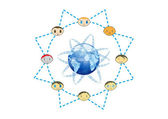 Global Friends Network Concept Illustration in Vector — Stock Vector
