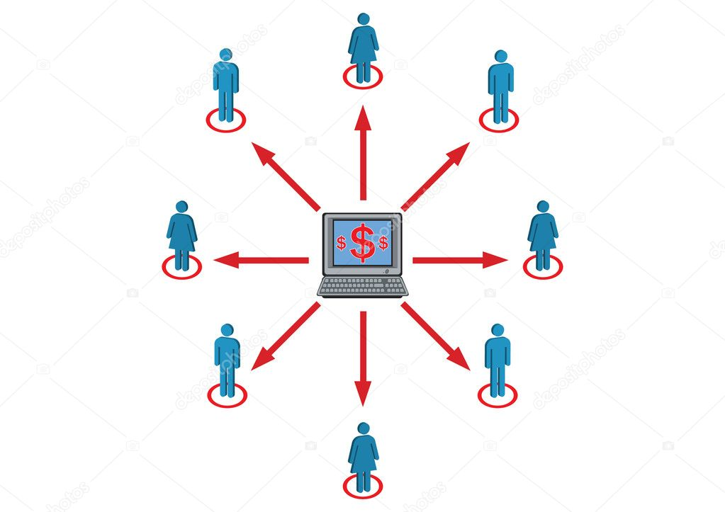 Female and Male Wealth Distribution Illustration in Vector — Stock Vector #3538248