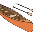 Canoe with Paddle in Vector Illustration — Stock Vector