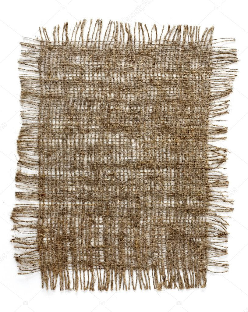 Piece of frayed burlap on white background — Stock Photo #2744734