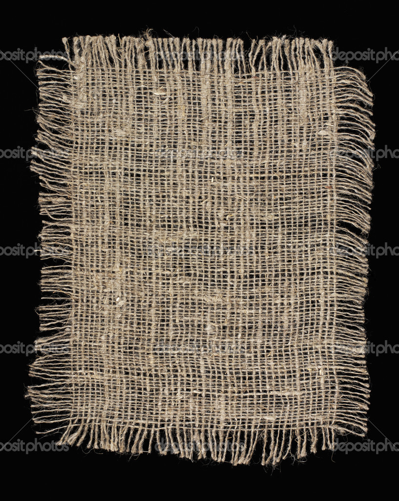 Piece of frayed burlap on black background — Stock Photo #2747040