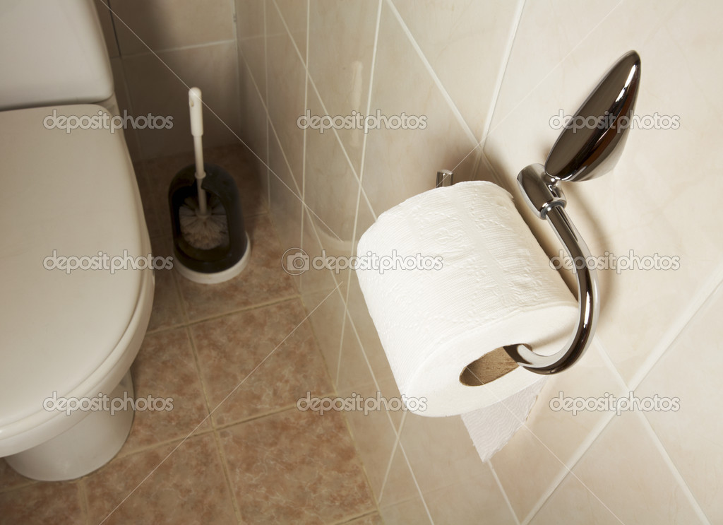 Toilet paper on roller in the bathroom — Stock Photo #2749825
