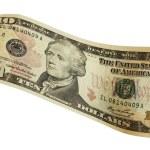 Bank note of ten north american dollars — Stock Photo