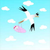 Stork and Baby — Stock Vector