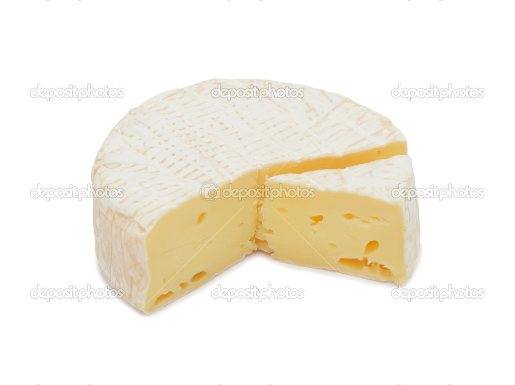 Round Brie cheese, with a section cut out, isolated on a white background — Stock Photo #3651817