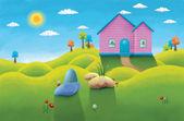 Karikaturní domu — Stock fotografie