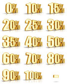 Gold Percent Tags — Stock Photo